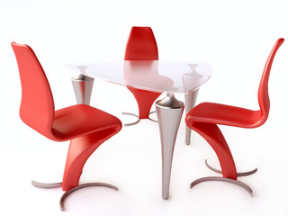 Modern Table and Red Chairs in Metal and Plastic