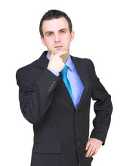 Caucasian businessman - in pensiveness condition.