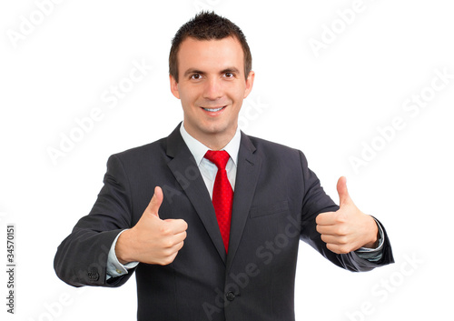 Cheerful businessman gesture show OK!  Isolated.
