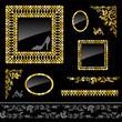 Set of golden frames and design elements