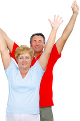 Elderly couple hands-up.