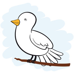 Vector cute white dove looking upwards