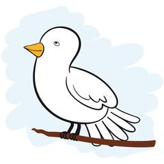 Vector cute white dove looking upwards