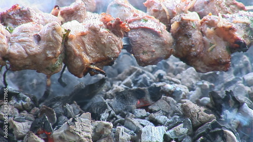 shashlik (shish kebab) over coals