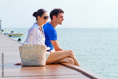 An attractive couple relaxing outdoor