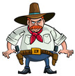 Fat cartoon cowboy ready to draw
