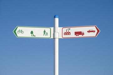 Environmental road sign