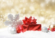 Christmas decorations on gold glittery background