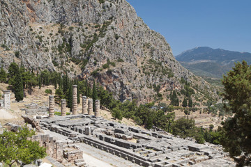 Temple of Apollo at ancient Delphi site in Greece