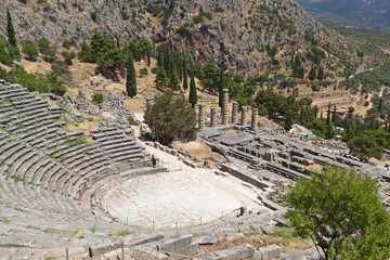 Temple of Apollo and the theater at Delphi in Greece