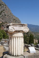 Single ionic order capital at ancient Delphi in Greece