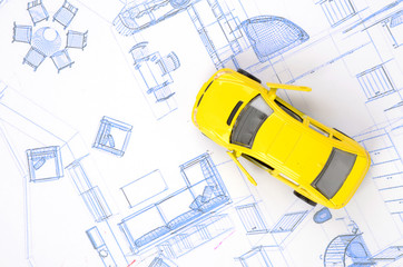Toy car and blueprint