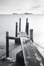 Pier aller en mer, noir et blanc