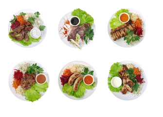 collection grilled meat .isolated