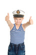 Sea boy showing ok gesture.His cap emblem of Russia.