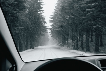 driving into a snowy storm