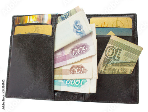 black wallet with russian rubles and plastic cards