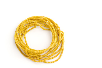 yellow rope on white background
