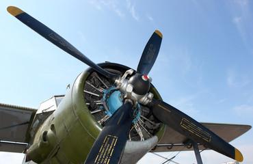 Aircraft propeller against a blue sky