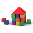Abstract house made of children blocks 3d