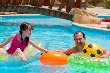 Father &daughter in the pool