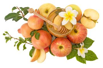 pomegranates and apples with honey
