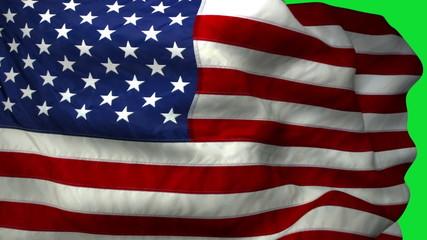 American Flag in Green Screen