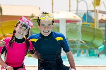Kids in wetsuits and masks