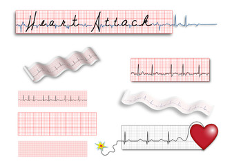 Heart Attack title in EKG strips FULL page of illustrations