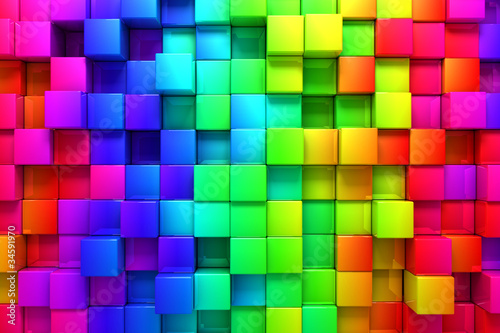 Rainbow of colorful boxes