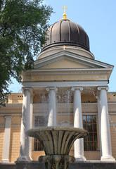 Streams of fountain near Christian Church