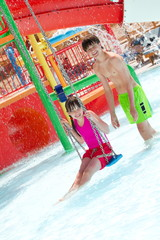 Playing at the waterpark