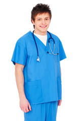 smiley nurse in blue uniform
