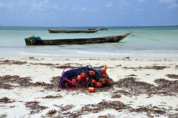 rete da pesca sulla spiaggia