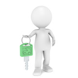 Green Energy. 3D little human character with a Car Key.