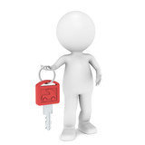 Car Key. 3D little human character with a Car Key. Red