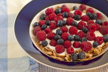 Blue bowl with cereal, yogurt, and berries