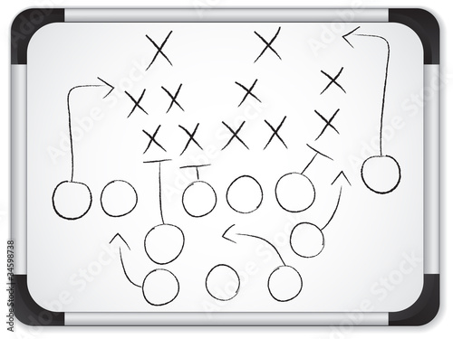Vector - Teamwork Football Game Plan Strategy on Whiteboard - 34598738