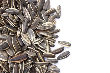 Sunflower seeds on white background