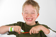 funny boy with toothbrush