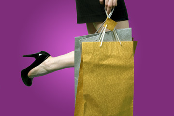 woman leg with bags