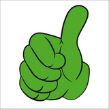 Hand gesture with thumb up. - 34603744