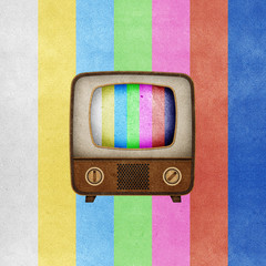 Television ( TV ) icon recycled paper craft.