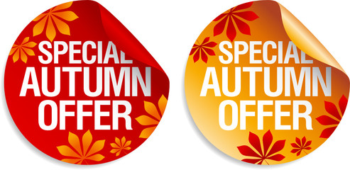 Autumn offers stickers set.