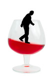Wine glass and alcoholic man poster