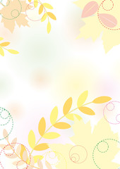 Pastel autumn background with maple leaves, pastel