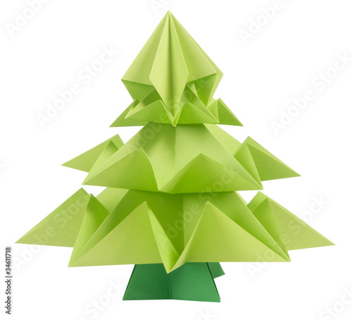 Origami Christmas tree isolated on white