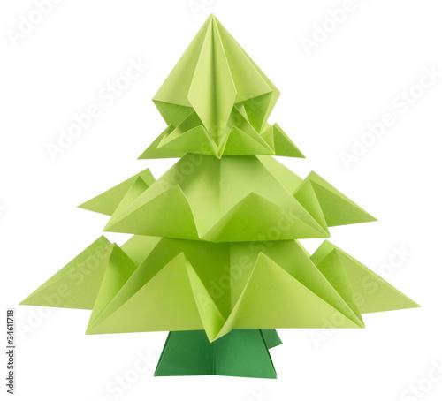 Origami Christmas tree isolated on white