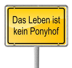 Ortsausgangsschild Ponyhof