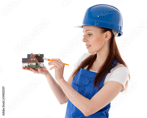 Female construction worker.